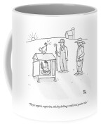 Two Farmers Observe A Rooster Warming The Eggs Coffee Mug