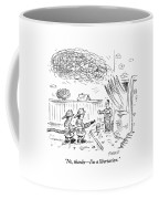Two Firemen Are Seen With A Fire Hose Coffee Mug