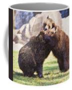 Two Grizzly Bears Ursus Arctos Play Fighting Coffee Mug