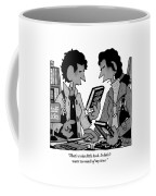 Two Guys Discuss The Value Of Books At A Library Coffee Mug