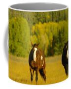 Two Horses Walking Along Coffee Mug