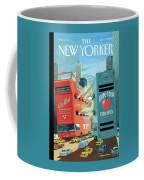 Two Huge Double Decker Tourist Buses Shooting Coffee Mug