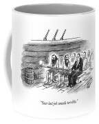 Two Imprisoned Rowers In A Ship Sit Next Coffee Mug