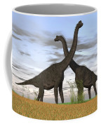 Two Large Brachiosaurus In Prehistoric Coffee Mug by Kostyantyn Ivanyshen