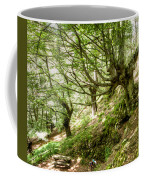 two little brothers Chasing Fairies in theBeech Forest on a summer day Coffee Mug