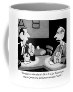 Two Men Are Seen Speaking At A Bar Coffee Mug