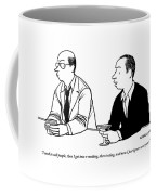 Two Men Are Seen Speaking With Each Other Coffee Mug