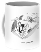 Two Men In A Small Cubicle Speak To Each Other Coffee Mug by Carolita Johnson