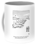 Two Men Look At A Hanger Of Fighter Jets Coffee Mug
