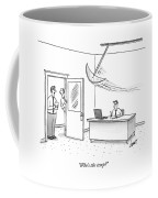 Two Men Look In On A Man Working In His Office Coffee Mug