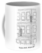 Two Men On Different Ledges Of A Building Coffee Mug