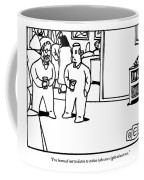 Two Men Speaking On Left Side Of Frame. They're Coffee Mug