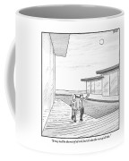 Two Men Touring The Outside Of A Big House Coffee Mug