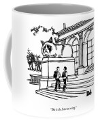 Two Men Walk Into A Library.  There Is An Coffee Mug