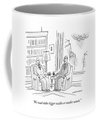 Two Middle Age Men In Suits Talk In An Office Coffee Mug