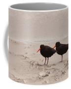 Two Oystercatchers Haematopus Unicolor On Beach Coffee Mug