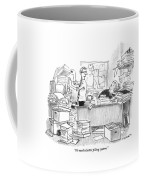 Two People Are In An Office Surrounded By Large Coffee Mug by Pat Byrnes