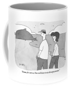 Two People Are Seen Speaking As They Walk Coffee Mug