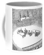 Two People Sit On A Modern-looking Curved Bench Coffee Mug
