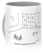 Two People Sitting In An Empty Room Coffee Mug