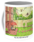 Two People Sitting On Their Back Patio Coffee Mug