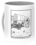 Two Pioneers Discuss The Wheels Of Their Wagon Coffee Mug