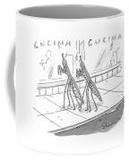 Two Praying Mantises Walk Together On The Street Coffee Mug by Danny Shanahan