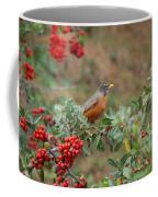 Two Robins Eating Berries Coffee Mug