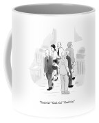 Two Rows Of Three People High Five Each Other Coffee Mug
