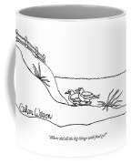 Two Seagulls Talk On An Empty Beach Coffee Mug