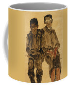 Two Seated Boys Coffee Mug by Egon Schiele