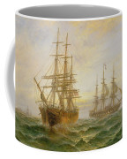 Two Ships Passing At Sunset Coffee Mug by Claude T Stanfield Moore