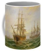 Two Ships Passing At Sunset Coffee Mug
