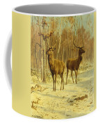 Two Stags In A Clearing In Winter Coffee Mug