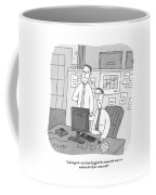Two Stockbrokers Look At A Computer Coffee Mug