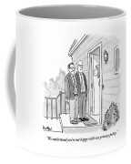 Two Suited Men Stand On The Doorstep Of A House Coffee Mug