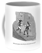 Two Swordfighters On A Staircase Grasp The Handle Coffee Mug