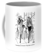 Two Women Dressed Nicely Walk Together Carrying Coffee Mug