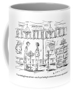 Two Women Stand At A Table In A Cafe Coffee Mug