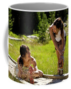 Two Women Stretch Prior To Running Coffee Mug