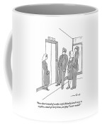 Two Working Men And Two Working Women Wait For An Coffee Mug