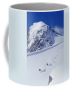 Two Young Men Skiing Untracked Powder Coffee Mug