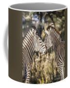 Two Zebras Equus Quagga Nuzzlling Coffee Mug