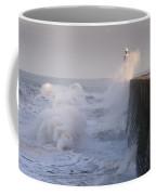 Tynemouth North Pier And Waves Coffee Mug