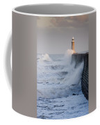 Tynemouth North Pier With Waves Coffee Mug