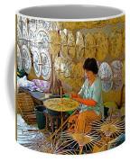 Umbrella Maker At Borsang Umbrella And Paper Factory In Chiang Mai-thailand Coffee Mug
