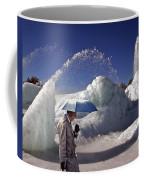 Umbrella Man At Frozen Fountain Coffee Mug