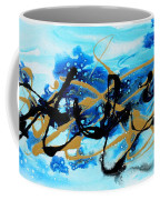 Under The Sea Original Abstract Blue Gold Painting By Madart Coffee Mug
