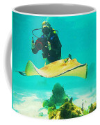 Underwater Photographer And Stingray Coffee Mug