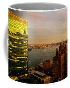 United Nations Building At Nightfall With Chrysler Building Reflection - Landmark Buildings  Coffee Mug